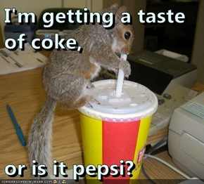I'm getting a taste of coke,  or is it pepsi?