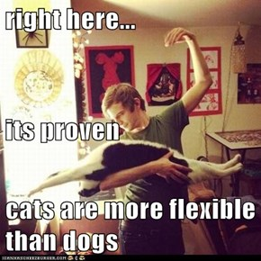 right here... its proven cats are more flexible than dogs