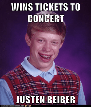 WINS TICKETS TO CONCERT  JUSTEN BEIBER