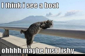 I think i see a boat  ohhhh maybe just fishy