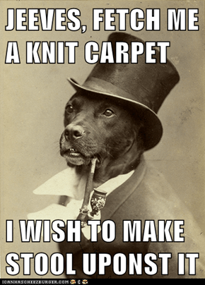 JEEVES, FETCH ME A KNIT CARPET  I WISH TO MAKE STOOL UPONST IT