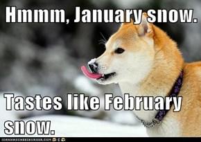 Hmmm, January snow.  Tastes like February snow.