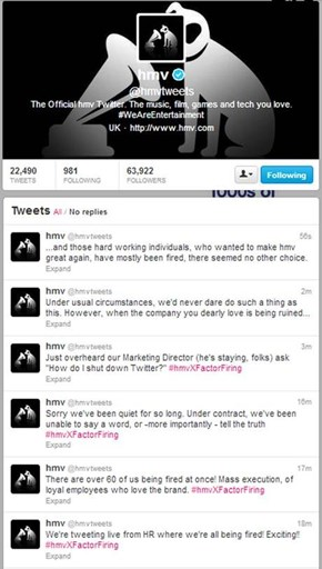 PR Fail of the Day: Former HMV Employee Tweets Firings in Real Time
