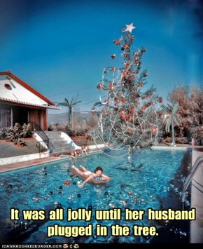 It  was  all  jolly  until  her  husband plugged  in  the  tree.
