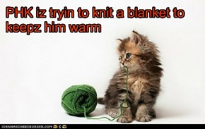 PHK iz tryin to knit a blanket to keepz him warm