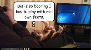 Dis iz so booring I has tu play with mai own feets.