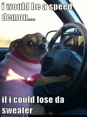 i would be a speed demon....  if i could lose da sweater
