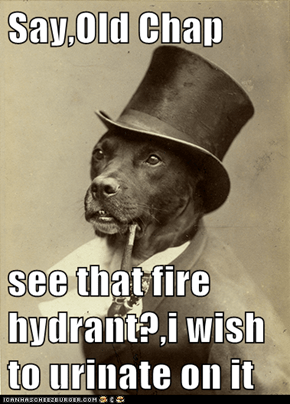 Say,Old Chap  see that fire hydrant?,i wish to urinate on it