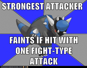 STRONGEST ATTACKER  FAINTS IF HIT WITH ONE FIGHT-TYPE ATTACK