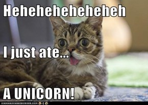 Heheheheheheheh I just ate... A UNICORN!