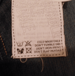 Instructions for to Washing of Pant