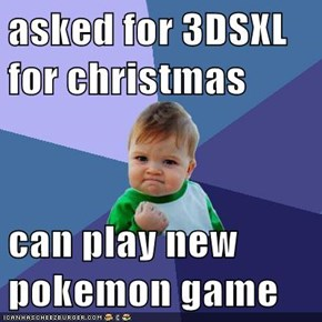 asked for 3DSXL for christmas  can play new pokemon game
