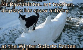Mr Pawpainter, art teacher, displays his snow artistry  at the Winter Splortz Partee