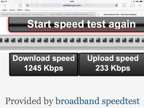 Speed test at: whatismyip.com