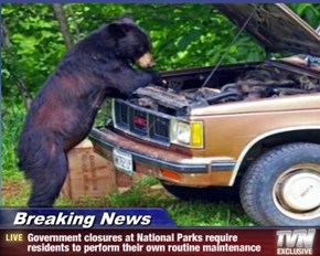 Breaking News - Government closures at National Parks require residents to perform their own routine maintenance
