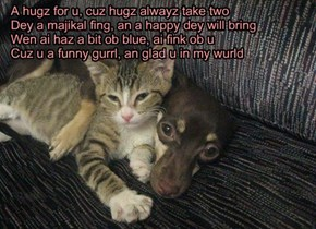 A hugz for u, cuz hugz alwayz take two Dey a majikal fing, an a happy dey will bring Wen ai haz a bit ob blue, ai fink ob u Cuz u a funny gurrl, an glad u in my wurld