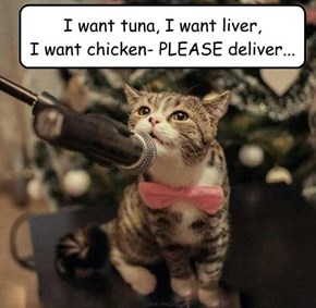 I want tuna, I want liver,  I want chicken- PLEASE deliver...