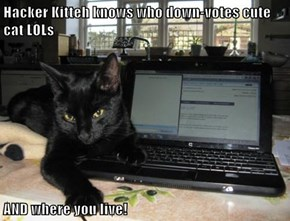 Hacker Kitteh knows who down-votes cute cat LOLs  AND where you live!