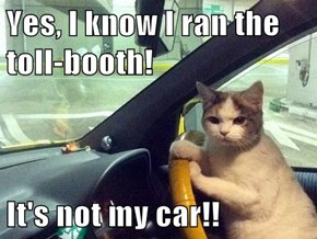 Yes, I know I ran the toll-booth!  It's not my car!!