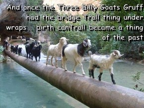And once the Three Billy Goats Gruff had the bridge Troll thing under wraps.. birth conTroll became a thing of the past