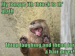 My tongue ith thtuck to th' glath  Thtop laughing and thend for a hair dryer!