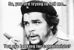 So, you are trying to tell me...  You are looking for communists?