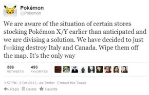 Pokemon's Response to the Early Releases of Pokemon X & Y