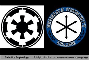 Galactice Empire logo Totally Looks Like Greendale Comm. College logo