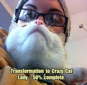 Transformation  to  Crazy  Cat  Lady  -  50%  complete.