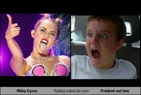 Miley Cyrus Totally Looks Like Freaked out boy