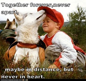Together forever,never apart,    maybe in distance, but never in heart.