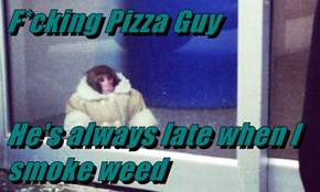 F*cking Pizza Guy   He's always late when I smoke weed
