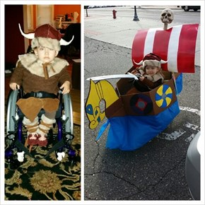 My daughter was born with Spina Bifida. This is her first wheelchair costume for Halloween.