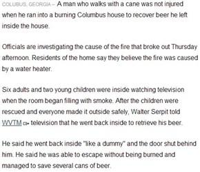 Georgia Man Runs Into Burning Home to Get Beer