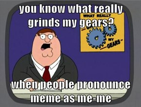 you know what really grinds my gears?  when people pronounce meme as me-me