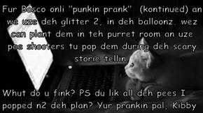 "Fur Bosco onli ""punkin prank""  (kontinued) an we uze deh glitter 2, in deh balloonz. wez can plant dem in teh purret room an uze pee shooters tu pop dem during deh scary storie tellin.   Whut do u fink? PS du lik all deh pees I popped n2 deh plan? Yur pra"