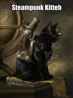 Steampunk Kitteh:  His portrait.
