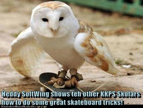 Heddy SoftWing shows teh other KKPS Skolars how to do some great skateboard tricks!