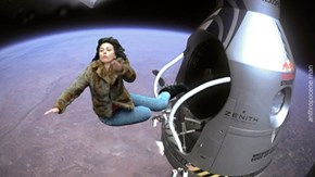 Scarlett Johansson Falling Down - red bull stratos edition