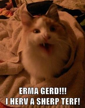 ERMA GERD!!!                       I HERV A SHERP TERF!