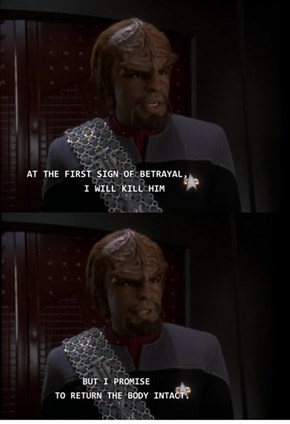 Worf Takes His Job Seriously