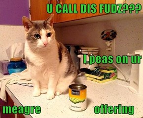 U CALL DIS FUDZ??? I peas on ur meagre                       offering