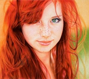 This beautiful portrait was done by blending colorful pens. Artist: Samuel Silva