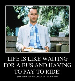 LIFE IS LIKE WAITING FOR A BUS AND HAVING TO PAY TO RIDE!