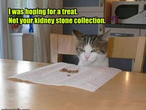I was hoping for a treat. Not your kidney stone collection.