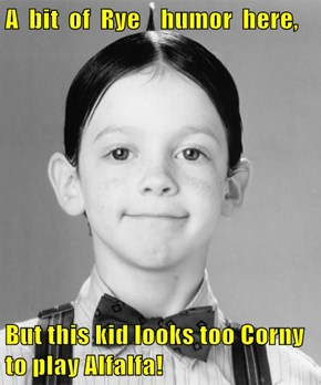 A  bit  of  Rye    humor  here,  But this kid looks too Corny to play Alfalfa!
