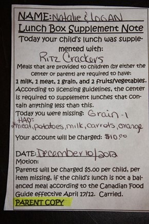Mother Fined $10 for Not Putting Crackers in Kids' Lunches