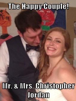 The Happy Couple!  Mr. & Mrs. Christopher Jordan