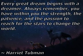 Every great dream begins with a dreamer. Always remember, you have within you the strength, the patience, and the passion to reach for the stars to change the world.         ~ Harriet Tubman