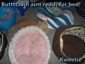 "Butttt..aih aint reddi fur bed!  ""Kweetie"""